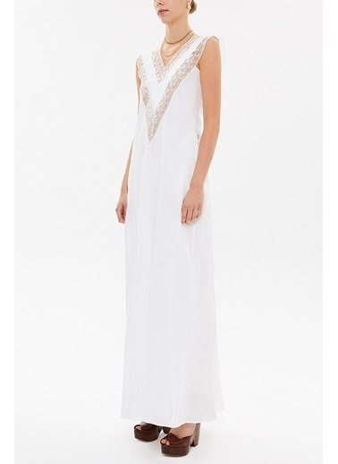 Societa V Yaka Datelli Uzun Elbise 92254 Beyaz